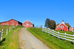 Scenic farm landscape in rural Vermont