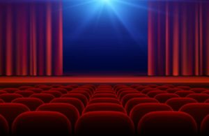 Film theater with red velvet seats