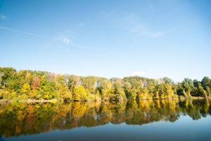 A view of the Connecticut River, morning calm and fall colors offer some fun things to do in Brattleboro VT