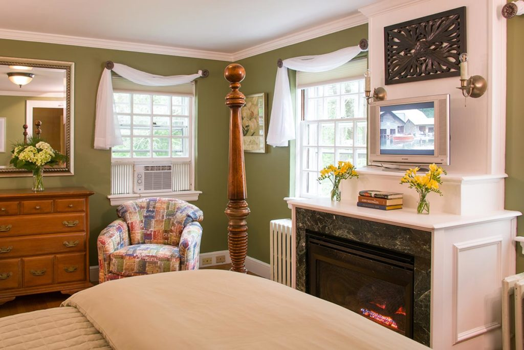 Romantic guest room with fireplace at our cozy Vermont Bed and Breakfast in Brattleboro VT