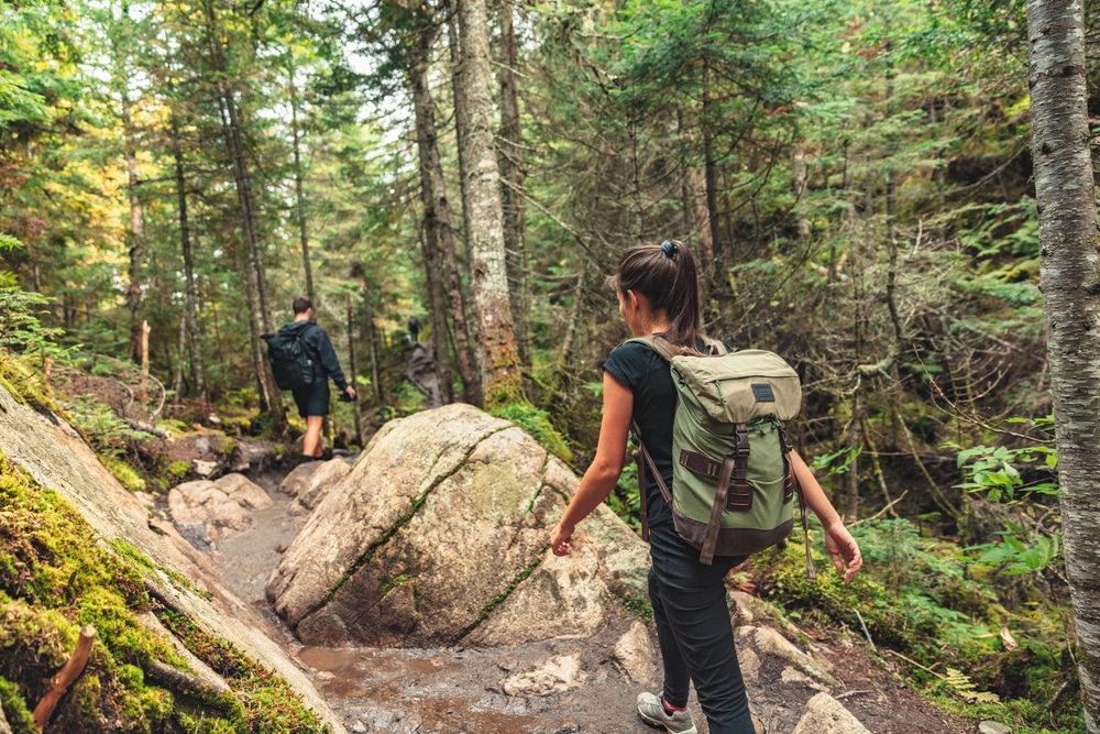 Couple hiking on trails like those at Pisgah State Park near our Brattleboro Bed and Breakfast
